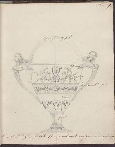 [Entwurf eines Doppelhenkelgefäßes mit Dekor] (vom Bearbeiter vergebener Titel)