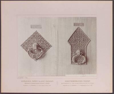 Fotografie eines Türgriffes mit Unterlage, aus dem 15. Jh. (vom Bearbeiter vergebener Titel)