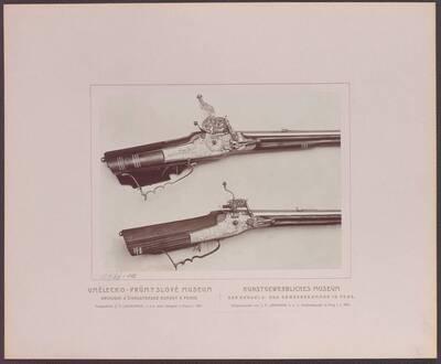 Fotografie zweier Radschlossbüchsen, eine mit Ares und den Attributen des Krieges, von Tobias Frantz, aus der ersten Hälfte des 18. Jh. und eine mit einer Bärenjagd, von Hanns Stifter, von 1663 (vom Bearbeiter vergebener Titel)