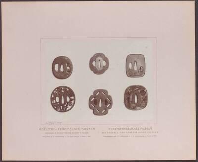Fotografie mehrerer japanischer Schwertstichblätter (tsuba 鍔), aus Eisen in Gold tauschiert (vom Bearbeiter vergebener Titel)