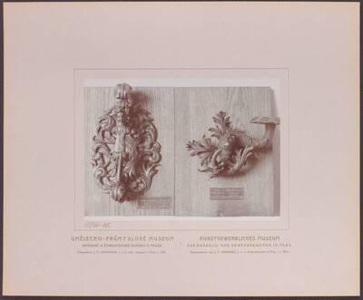 Fotografie eines Türgriffes aus Schmiedeeisen, aus Wien vom Beginn des 18. Jh. und einer Türklinke und Türklopfers aus Schmiedeeisen, aus Oberösterreich aus dem 17. Jh. (vom Bearbeiter vergebener Titel)