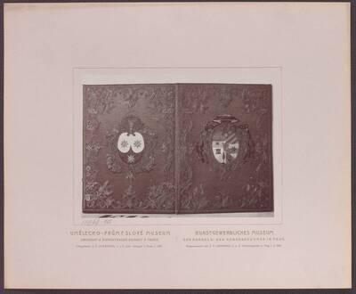Fotografie eines Bucheinbandes aus Seide mit Gold und Silber bestickt und dem Kardinals-Wappen J. M. Pontalti's, aus dem 18. Jh. (vom Bearbeiter vergebener Titel)