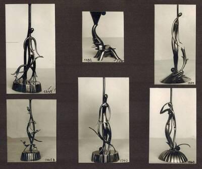 6 Tischlampen, Aufnahme für den Katalog der Werkstätte Hagenauer aus dem Jahr 1928 (vom Bearbeiter vergebener Titel)