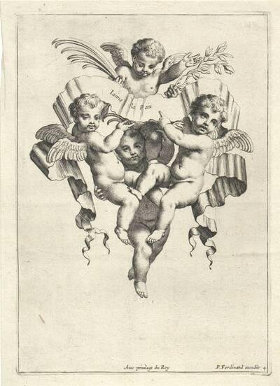 """Blatt 4 aus der Folge """"Divers objets d' Amour etc."""", herausgegeben von P. Ferdinand (=Pierre Elle?) (vom Bearbeiter vergebener Titel)"""