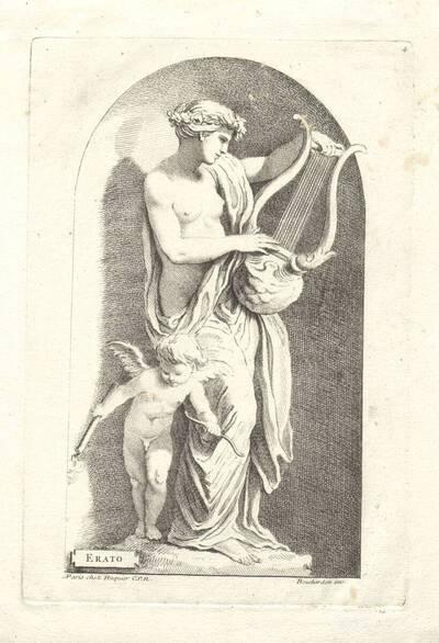 """Erato, die Muse der Lyrik und erotischen Poesie, Blatt 4 aus der Folge """"Apollon et les Muses"""", herausgegeben von Huquier (vom Bearbeiter vergebener Titel)"""
