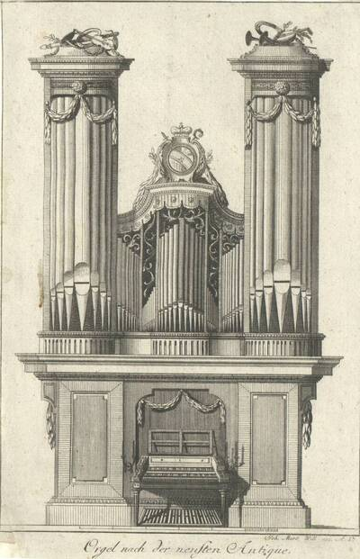 """Eine """"Orgel nach der neusten Antique"""", Blatt aus dem 120. Teil des von J. M. Will verlegten Reihenwerks nach französischen Vorbildern, beschnitten (vom Bearbeiter vergebener Titel)"""