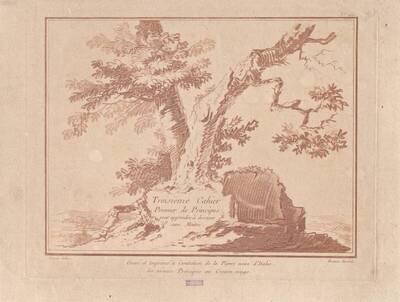 """Eine Baumgruppe, Titelblatt der Folge """"Troisième Cahier Premier de Principes pour apprendre à dessiner/ sans Maitre."""" (vom Bearbeiter vergebener Titel)"""