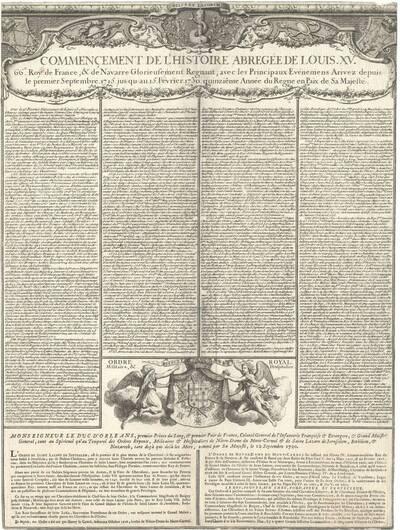 Die historischen Taten von Louis XV (Commencement de l' histoire abregée de Louis XV) (vom Bearbeiter vergebener Titel)