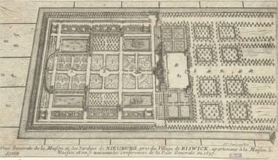 Ansicht (Vogelperspektive) der Gärten des Schlosses Nieuburg bei Riswick (vom Bearbeiter vergebener Titel)