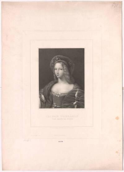Stich nach Gemälde von Raphael, Jeanne d´ Arragon (vom Bearbeiter vergebener Titel)