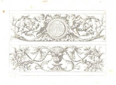 """Titelblatt der Folge """"Livre de Frise et Ornemens"""", herausgegeben von Poilly (vom Bearbeiter vergebener Titel)"""
