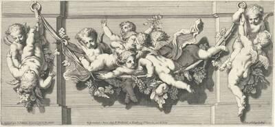 Blatt 1 aus einer Folge von Friesen mit Putti, herausgegeben von P. Ferdinand (=P. Elle?) (vom Bearbeiter vergebener Titel)