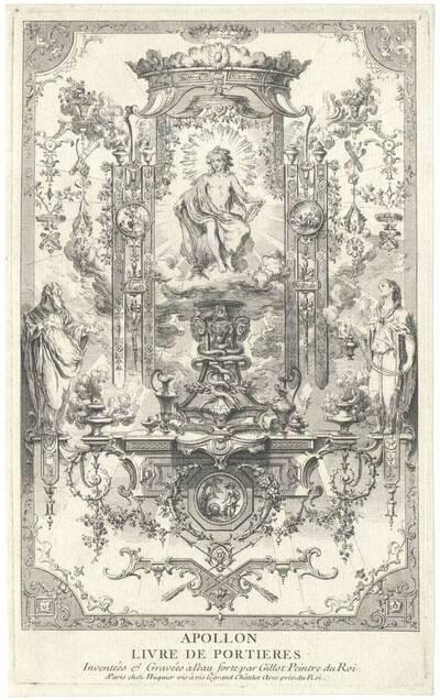 """Wandfüllung mit Apollo, Blatt 1 aus der Folge """"Livre de Portieres"""", herausgegeben von Huquier (vom Bearbeiter vergebener Titel)"""