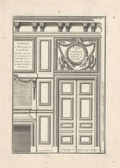 """Tür und Kamin, Blatt 1 mit Titel aus der Folge """"Portes à Placard et Lambris"""", herausgegeben von N. Langlois (vom Bearbeiter vergebener Titel)"""