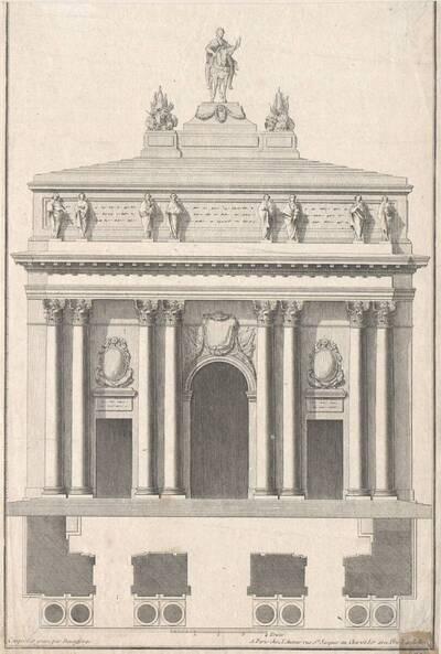 """Ein Triumphbogen, Blatt (fortlaufende Nummer 114) aus der Folge des Reihenwerkes """"Recueil Elémentaire D' Architecture etc."""", herausgegeben von de Neufforge (vom Bearbeiter vergebener Titel)"""