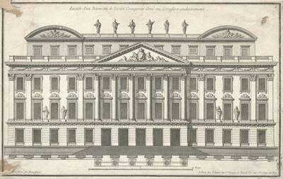"""Eine Fassade, Blatt 6 (fortlaufende Nummer 516) aus der Folge des Reihenwerkes """"Recueil Elémentaire D' Architecture etc."""", herausgegeben von de Neufforge (vom Bearbeiter vergebener Titel)"""