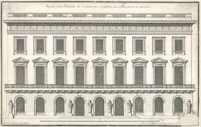 """Eine Fassade, Blatt 3 aus der Folge des Reihenwerkes """"Recueil Elémentaire D' Architecture etc."""", herausgegeben von de Neufforge (vom Bearbeiter vergebener Titel)"""