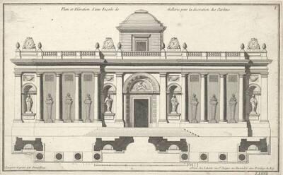 """Eine Fassade, Blatt V (fortlaufende Nummer LXXVII) aus der Folge des Reihenwerkes """"Recueil Elémentaire D' Architecture etc."""", herausgegeben von de Neufforge (vom Bearbeiter vergebener Titel)"""