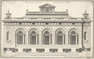 """Eine Fassade, Blatt III (fortlaufende Nummer LXXV) aus der Folge des Reihenwerkes """"Recueil Elémentaire D' Architecture etc."""", herausgegeben von de Neufforge (vom Bearbeiter vergebener Titel)"""