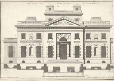 """Eine Fassade, Blatt aus der Folge des Reihenwerkes """"Recueil Elémentaire D' Architecture etc."""", herausgegeben von de Neufforge (vom Bearbeiter vergebener Titel)"""