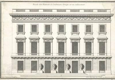 """Eine Fassade, Blatt (fortlaufende Nummer 512) aus der Folge des Reihenwerkes """"Recueil Elémentaire D' Architecture etc."""", herausgegeben von de Neufforge (vom Bearbeiter vergebener Titel)"""