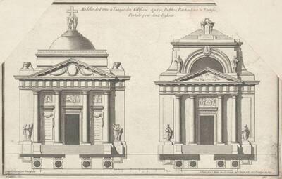 """Zwei Portale, Blatt (fortlaufende Nummer 265) aus der Folge des Reihenwerkes """"Recueil Elémentaire D' Architecture etc."""", herausgegeben von de Neufforge (vom Bearbeiter vergebener Titel)"""