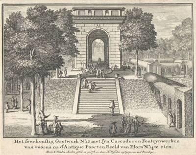 Gartenansicht mit Treppe und Tempel (vom Bearbeiter vergebener Titel)