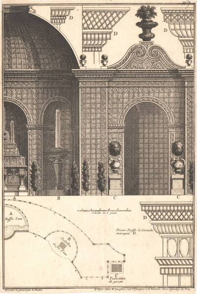 Grundriß und Querschnitte eines Gartenpavillons, Blatt aus einer Folge, herausgegeben von Langlois (vom Bearbeiter vergebener Titel)