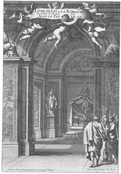 """Interieur mit Bett, Titelblatt der Folge """"Livre de Lit a la Romaine"""", herausgegeben von Gantrel (vom Bearbeiter vergebener Titel)"""