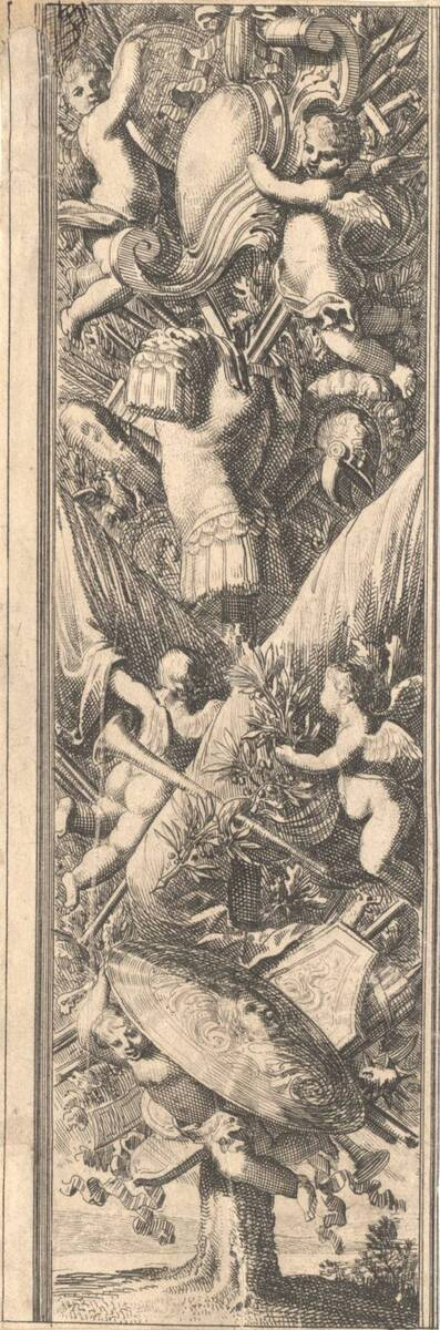"""Aufsteigende Ornamentfüllung mit Trophäen, von einem Baumstamm ausgehend, aus der Folge """"Montans de trophées d' armes a l' antique"""" (vom Bearbeiter vergebener Titel)"""