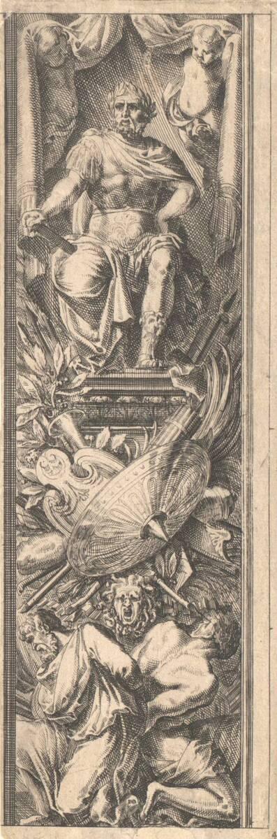 """Aufsteigende Ornamentfüllung mit Trophäen, oben ein thronender Feldherr, Blatt 4 aus der Folge """"Montans de trophées d' armes a l' antique"""" (vom Bearbeiter vergebener Titel)"""