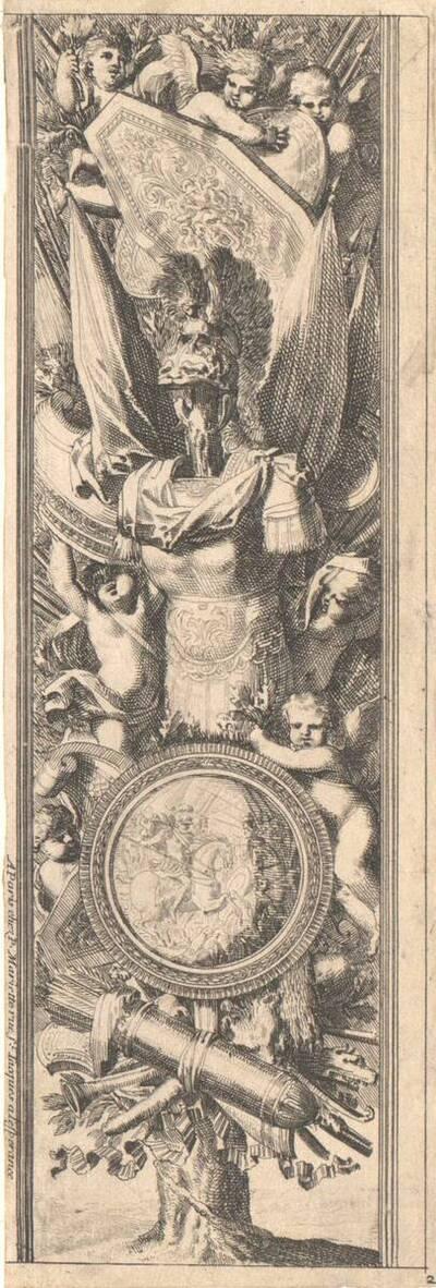 """Aufsteigende Ornamentfüllung mit Trophäen, von einem Baumstamm ausgehend, Blatt 2 aus der Folge """"Montans de trophées d' armes a l' antique"""" (vom Bearbeiter vergebener Titel)"""