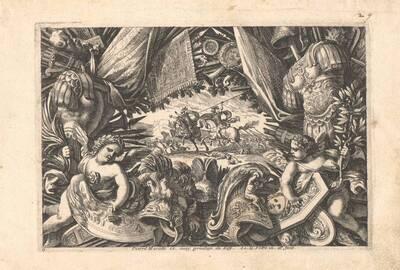 """Blatt 6 aus der Folge """"Tropehées d' Armes antique et moderne etc."""", herausgegeben von P. Mariette (vom Bearbeiter vergebener Titel)"""