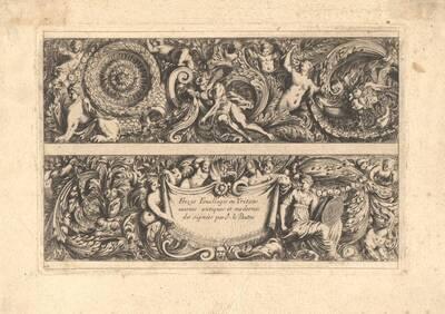 """Titelblatt zu """"Frizes Feuillages ou Tritons marins antiques et modernes"""" (vom Bearbeiter vergebener Titel)"""