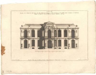 Die Fassade eines Landhauses (vom Bearbeiter vergebener Titel)