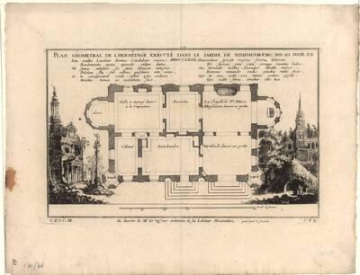 Grundriß der Eremitage im Garten von Nymphenburg, Blatt 1 aus der Folge U der Gesamtausgabe der Werke der Cuvilliés (vom Bearbeiter vergebener Titel)