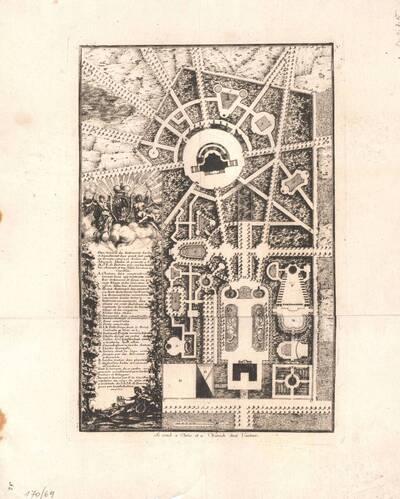 Eine Gartenanlage, Blatt 1 aus der Folge V der Gesamtausgabe der Werke der Cuvilliés (vom Bearbeiter vergebener Titel)