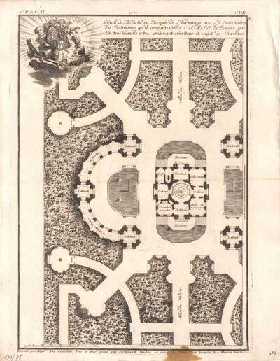 Eine Gartenanlage, Blatt 3 aus der Folge X der Gesamtausgabe der Werke der Cuvilliés, herausgegeben von Huquier und von Cuvilliés (vom Bearbeiter vergebener Titel)