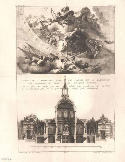Querschnitt der Eremitage und eine Sonnenuhr, Blatt 5 aus der Folge X der Gesamtausgabe der Werke der Cuvilliés (vom Bearbeiter vergebener Titel)
