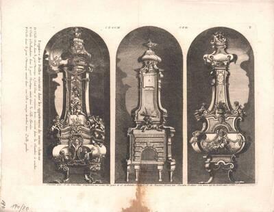Drei Öfen, Blatt 7 aus der Folge T der Gesamtausgabe der Werke der Cuvilliés (vom Bearbeiter vergebener Titel)