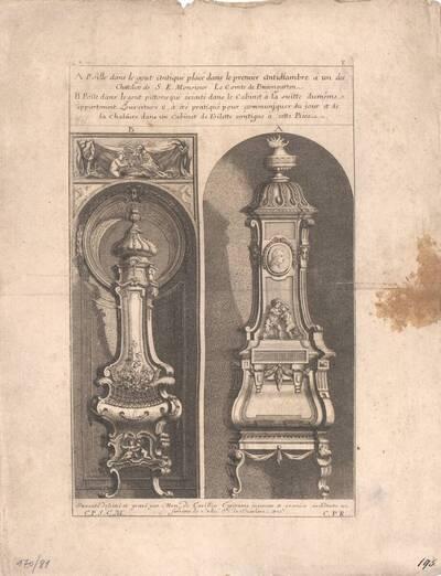 Zwei Öfen, Blatt 8 aus der Folge T der Gesamtausgabe der Werke der Cuvilliés (vom Bearbeiter vergebener Titel)