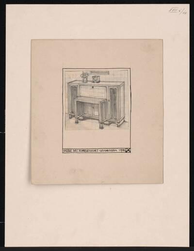 Zeichnung zu einem Salon für Frau Hertha Jäger: Schreibtisch
