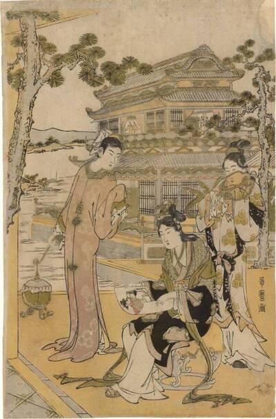 Chinesische Schönheiten bei einem Fest (vom Bearbeiter vergebener Titel)