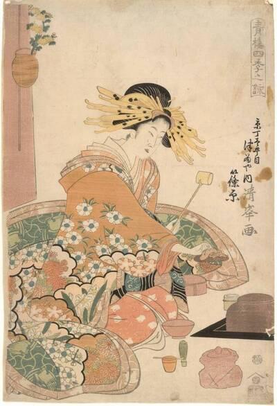 Kurtisane Shinohara aus dem Haus Tsuru in der Kyō-Straße (Kyō-chō itchōme Tsuruya uchi Shinohara 京丁壱町目ツルヤ内 篠原)