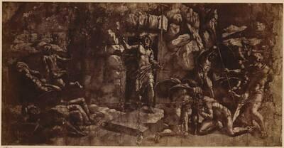 Fotografie einer Zeichnung mit der Auferstehung Christi, von einem Schüler Raffaels (vom Bearbeiter vergebener Titel)