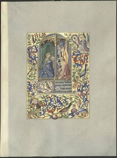 Kopie einer Miniatur mit der Darstellung der Verkündigung der Hl. Maria und Randverzierung aus einem burgundischen Gebetbuch (Psalm 50, Vers 17) des 15. Jahrhunderts von Andreas Mögele und Ignaz Schönbrunner (vom Bearbeiter vergebener Titel)