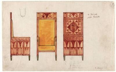 Entwurf für den hohen Armlehnsessel im Frühstückszimmer der Wohnung Eisler von Terramare (vom Bearbeiter vergebener Titel)