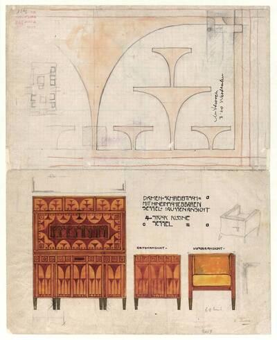 Entwurf zum Schreibschrank im Frühstückszimmer der Wohnung Eisler von Terramare (vom Bearbeiter vergebener Titel)