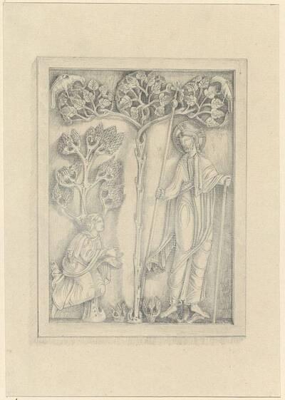 Kopie eines Elfenbeinreliefs aus dem 12. Jahrhundert mit biblischer Darstellung (vom Bearbeiter vergebener Titel)