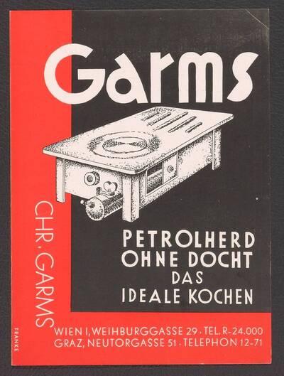 Werbebroschüre für Chr. Garms Petrolherd ohne Docht